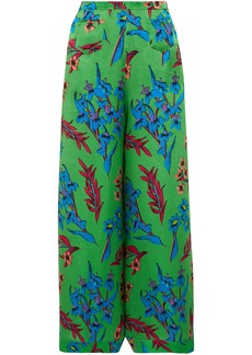 Etro Woman Floral-print Hammered Silk-satin Wide-leg Pants Green