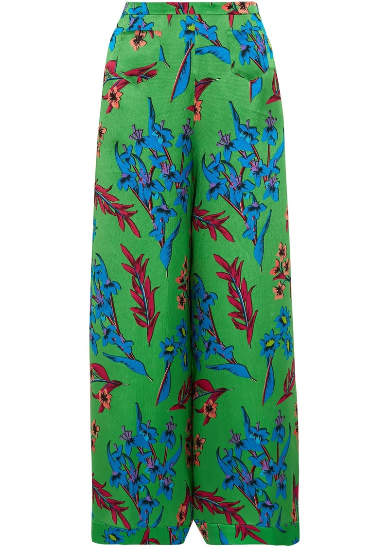 Etro Woman Floral-print Hammered Silk-satin Wide-leg Pants Green