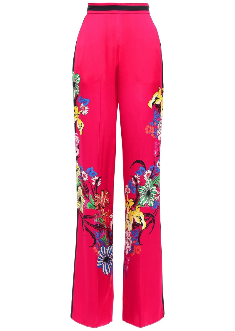 Etro Woman Floral-print Satin-crepe Wide-leg Pants Bright Pink