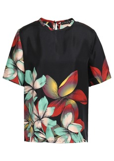 Etro Woman Floral-print Silk-twill Top Black