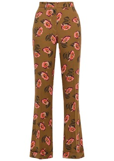 Etro Woman Floral-print Twill Flared Pants Light Brown