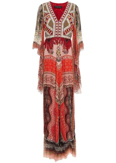 Etro Woman Fringe-trimmed Bead-embellished Printed Silk-chiffon Maxi Dress Red