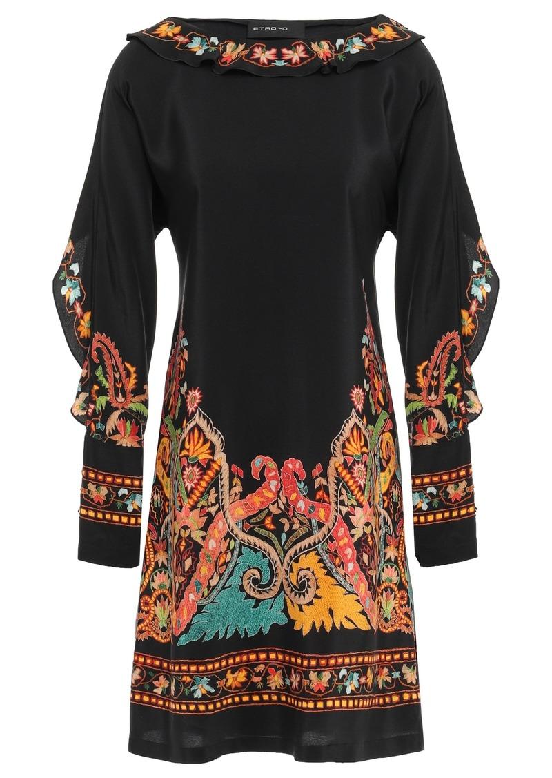 Etro Woman Fringed Printed Silk Crepe De Chine Mini Dress Black