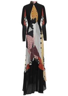 Etro Woman Gathered Printed Fil Coupé Silk-blend Chiffon Maxi Dress Black