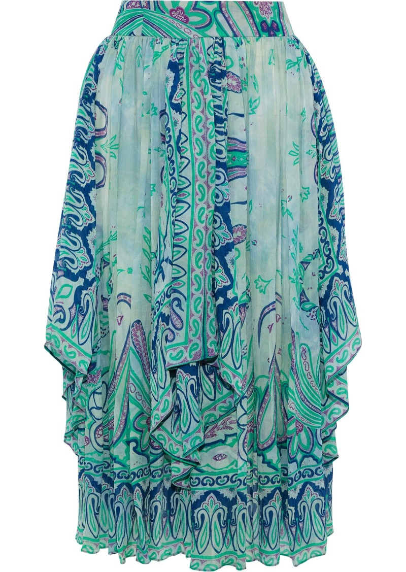 Etro Woman Gathered Printed Silk-georgette Midi Skirt Teal