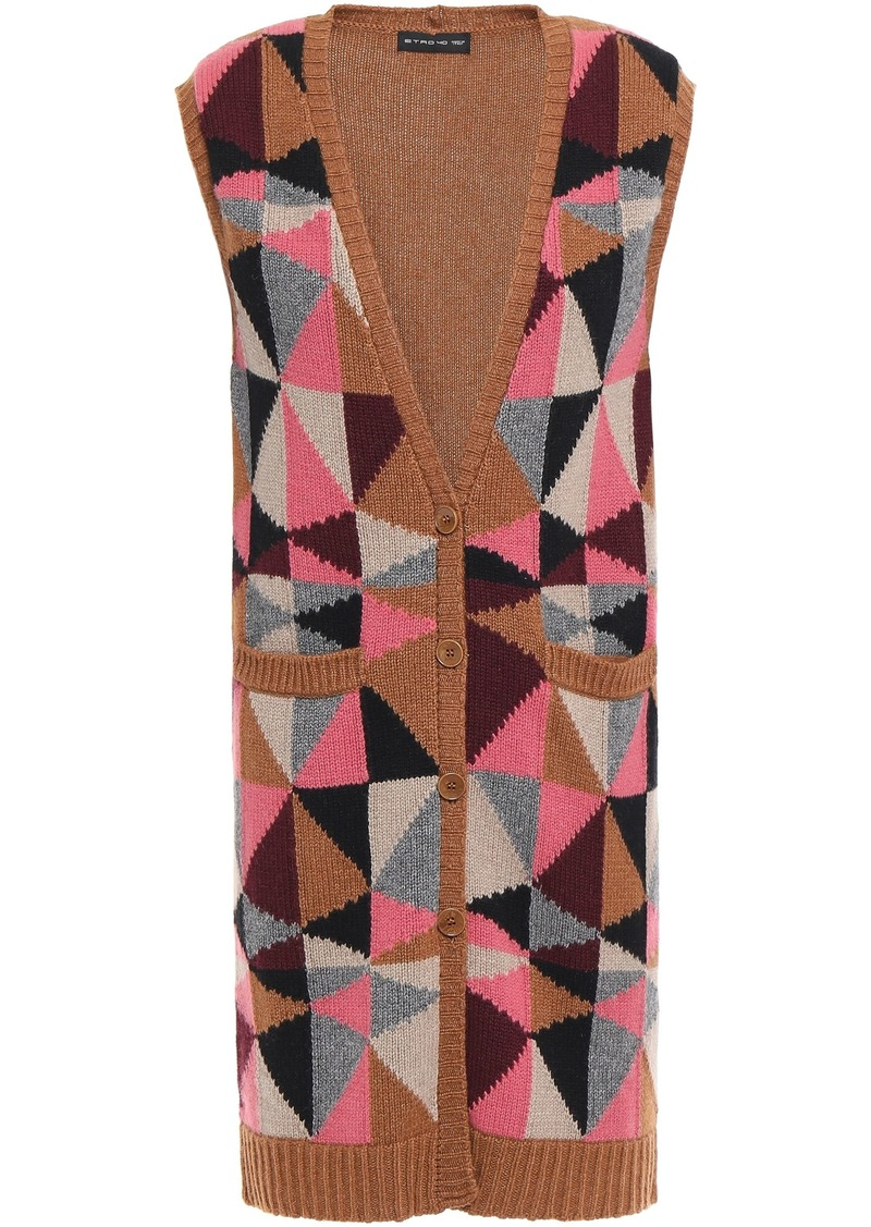 Etro Woman Intarsia-knit Vest Light Brown