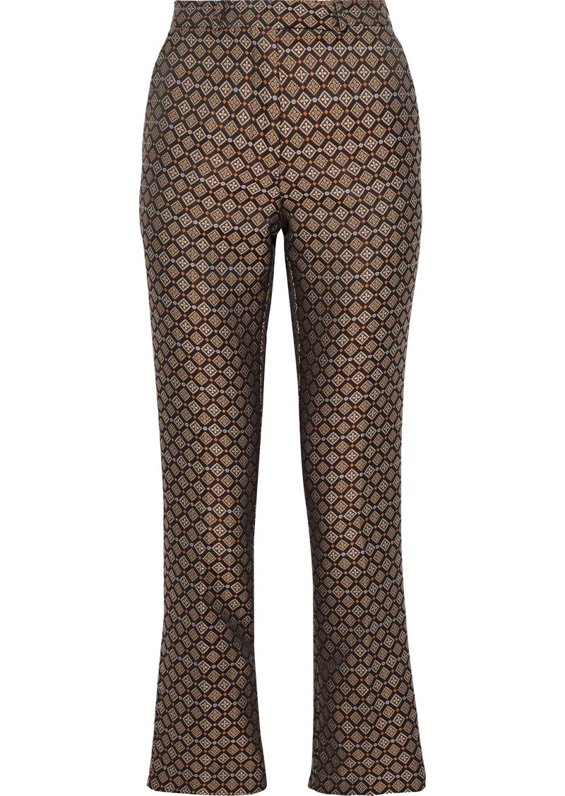 Etro Woman Jacquard Slim-leg Pants Black