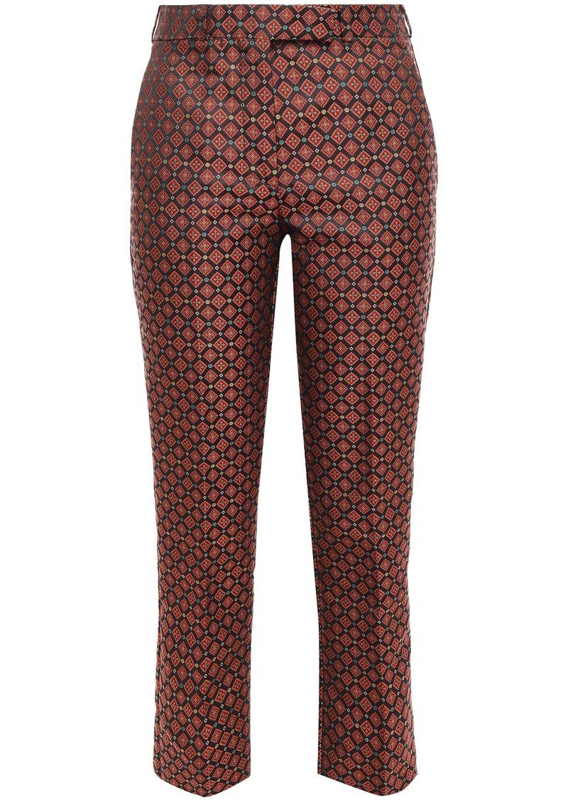 Etro Woman Jacquard Slim-leg Pants Orange