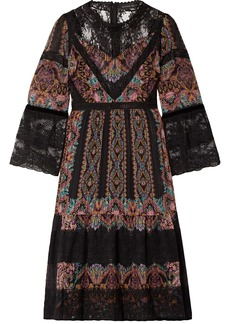 Etro Woman Lace-paneled Printed Silk-crepon Dress Black