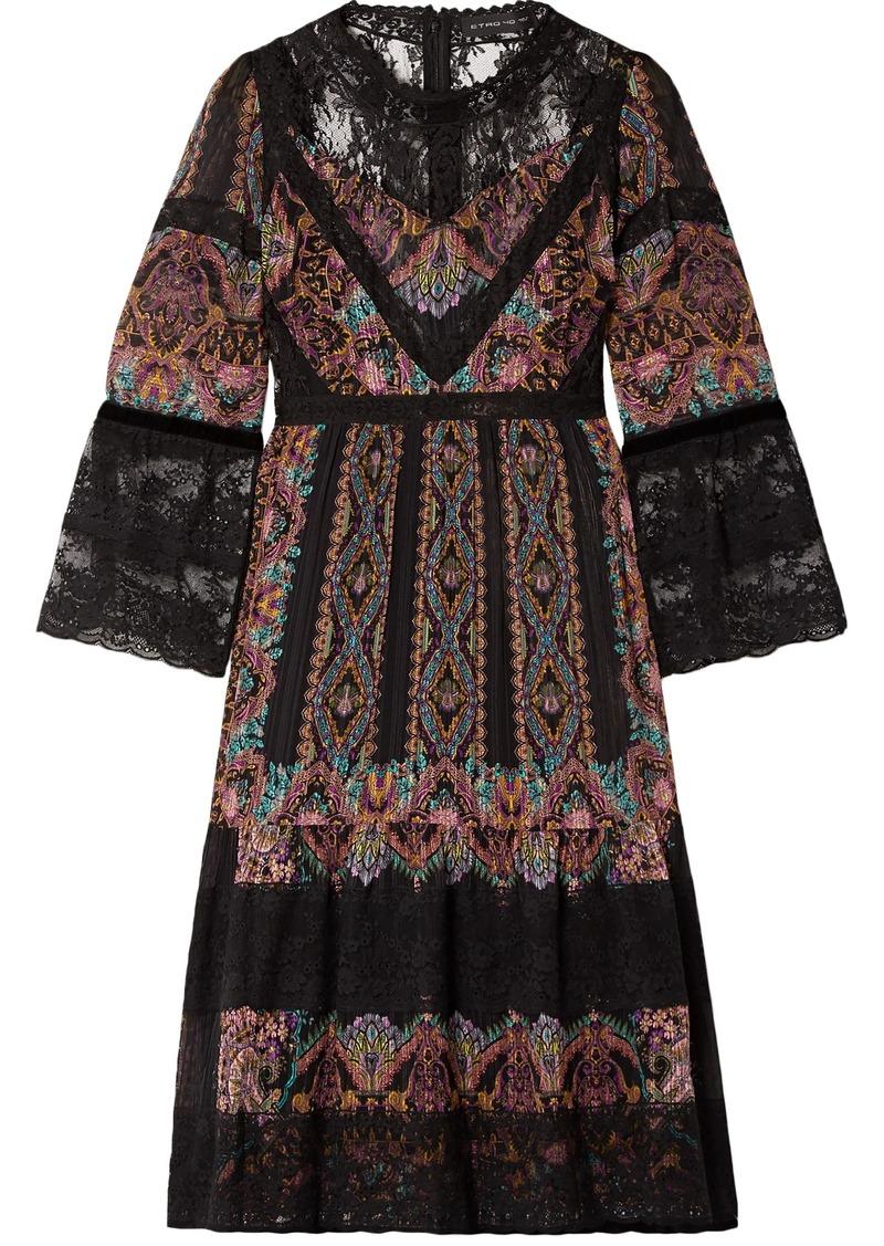 Etro Woman Lace-paneled Printed Silk-crepon Dress Black