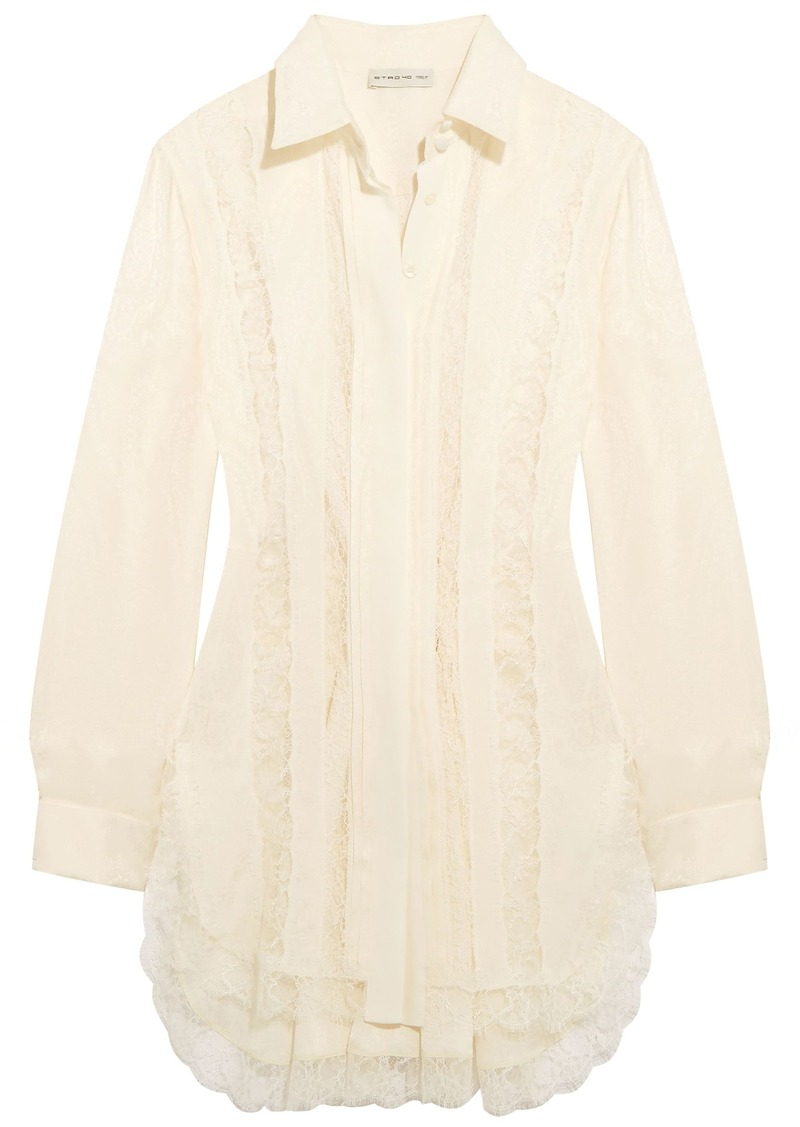 Etro Woman Lace-paneled Silk-jacquard Shirt Ivory