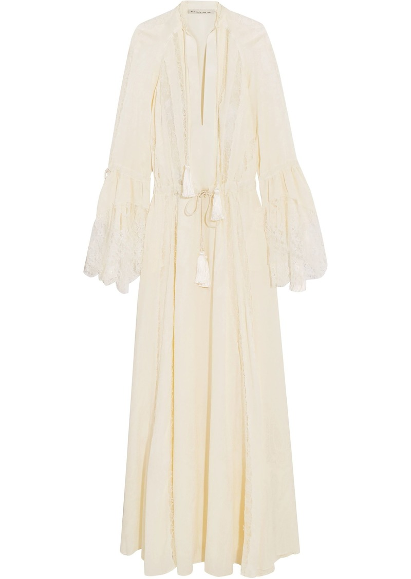 Etro Woman Lace-paneled Tassel-trimmed Silk-jacquard Gown Ivory