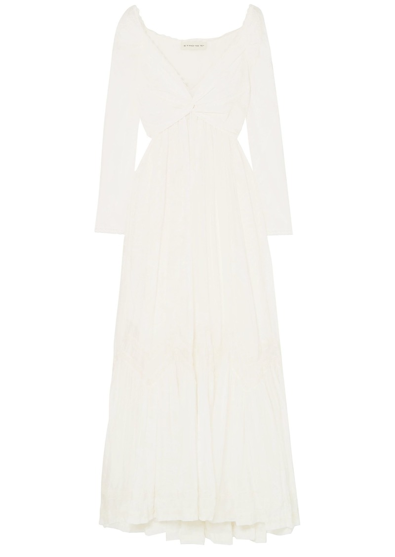 Etro Woman Lace-trimmed Cotton And Silk-blend Maxi Dress White