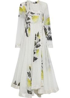 Etro Woman Metallic Jacquard-trimmed Printed Cotton And Silk-blend Midi Wrap Dress White