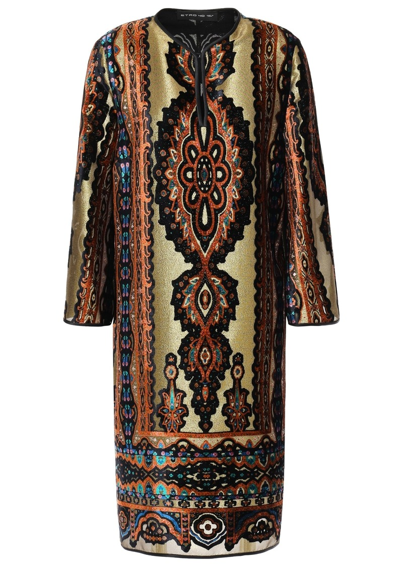Etro Woman Metallic Printed Devoré-velvet Dress Gold