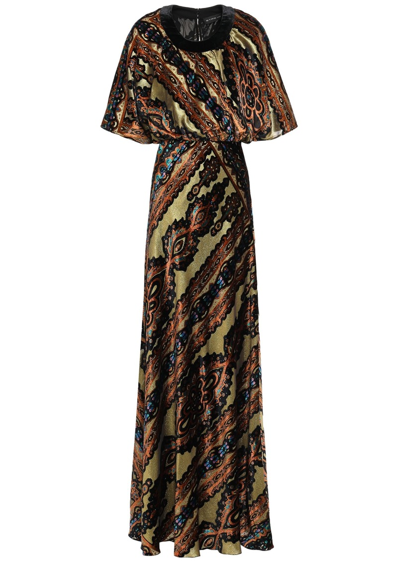 Etro Woman Metallic Printed Devoré-velvet Gown Gold