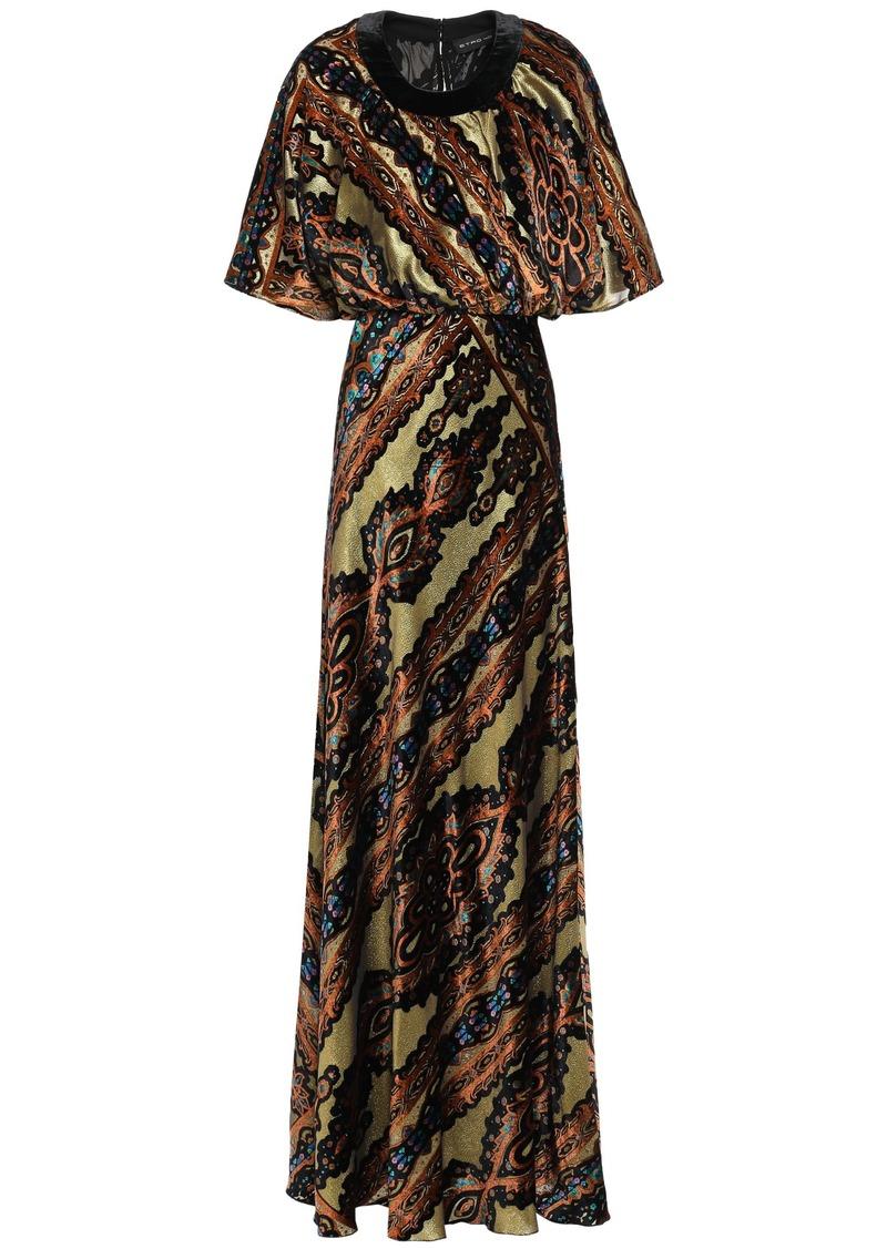 Etro Woman Metallic Printed Devoré-velvet Gown Gold