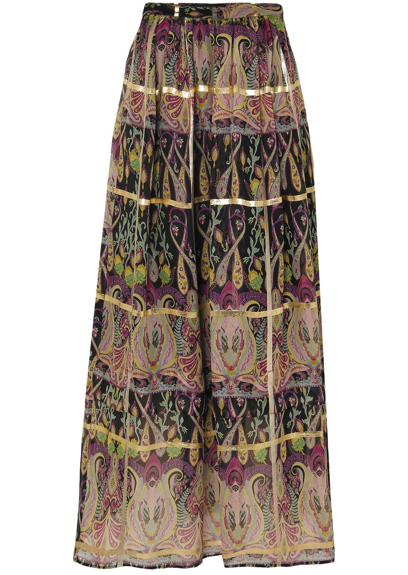 Etro Woman Metallic Printed Silk-blend Jacquard Maxi Skirt Multicolor