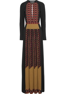 Etro Woman Open-back Pleated Printed Crepe Gown Black