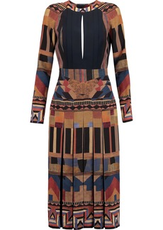 Etro Woman Open-back Pleated Printed Silk Dress Brown