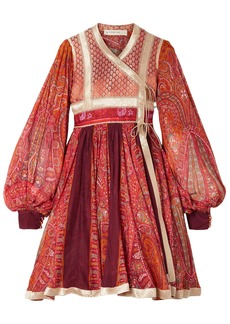 Etro Woman Paneled Cotton And Silk-blend Jacquard And Printed Chiffon Wrap Dress Red