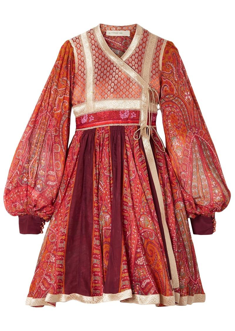 Etro Woman Paneled Cotton And Silk-blend Jacquard And Printed Chiffon Wrap Dress Red