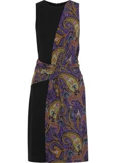 Etro Woman Paneled Draped Printed Stretch-crepe Dress Purple
