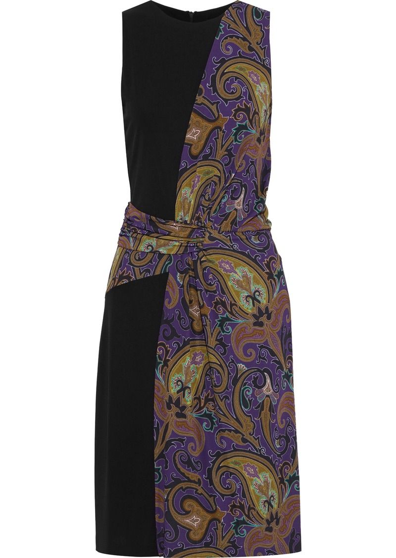 Etro Woman Paneled Draped Printed Stretch-crepe Dress Purple