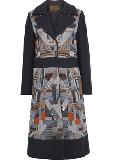 Etro Woman Paneled Embellished Felt Coat Dark Gray