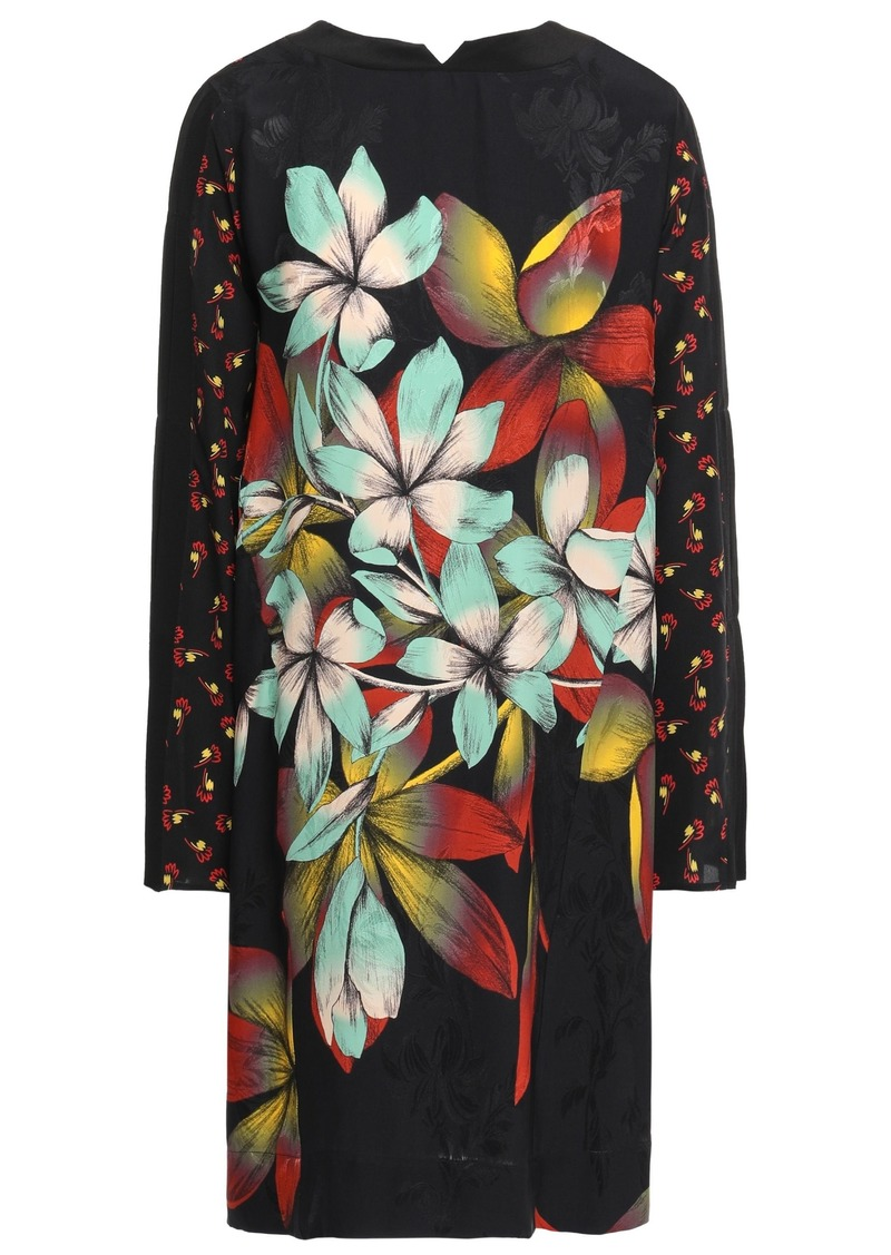 Etro Woman Paneled Floral-print Satin-jacquard And Crepe De Chine Dress Black