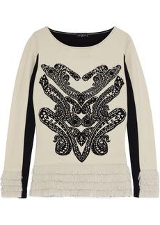 Etro Woman Paneled Fringe-trimmed Intarsia-knit Sweater Cream