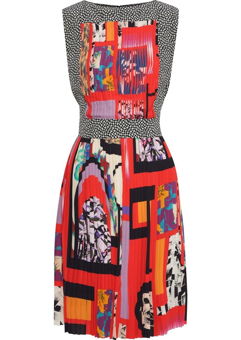 Etro Woman Flared Cotton-blend Jacquard Dress Multicolor