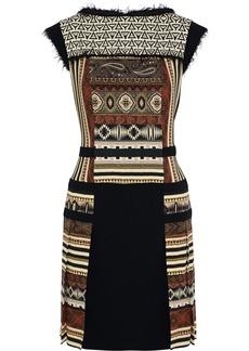 Etro Woman Paneled Printed Wool-crepe Mini Dress Black