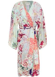 Etro Woman Patchwork-effect Floral-print Jacquard Kimono Sky Blue