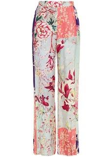 Etro Woman Patchwork-effect Floral-print Jacquard Wide-leg Pants Sky Blue