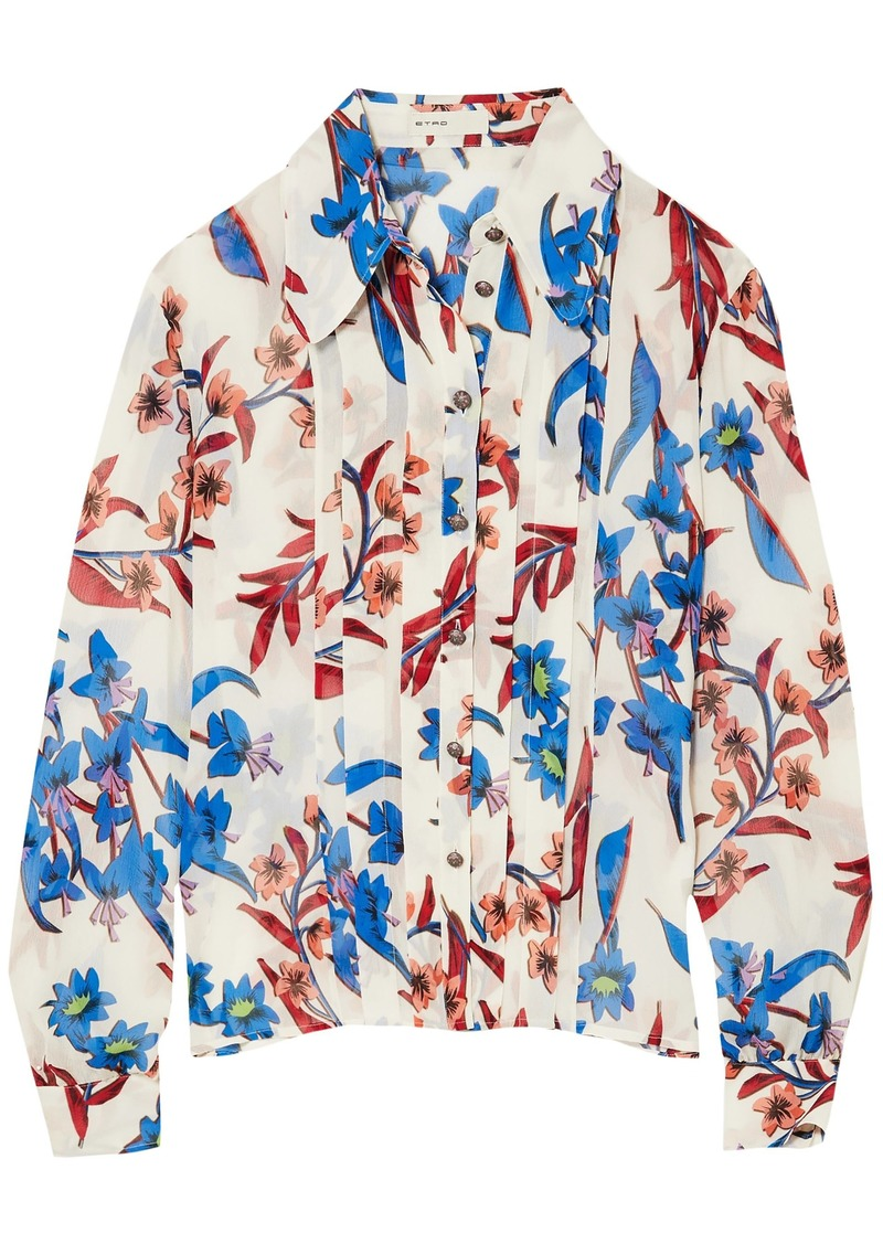 Etro Woman Pleated Floral-print Crinkled-silk Shirt Ivory