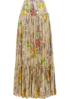 Etro Woman Pleated Metallic Floral-print Silk-blend Jacquard Maxi Skirt Gold