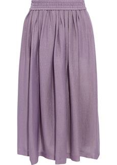 Etro Woman Pleated Metallic Silk-blend Twill Skirt Lavender