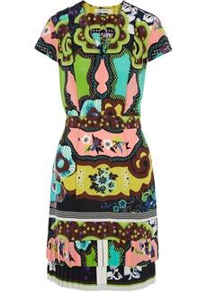 Etro Woman Pleated Printed Silk Crepe De Chine Mini Dress Multicolor