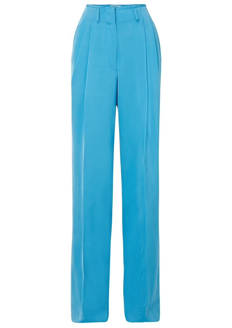 Etro Woman Satin-crepe Wide-leg Pants Light Blue