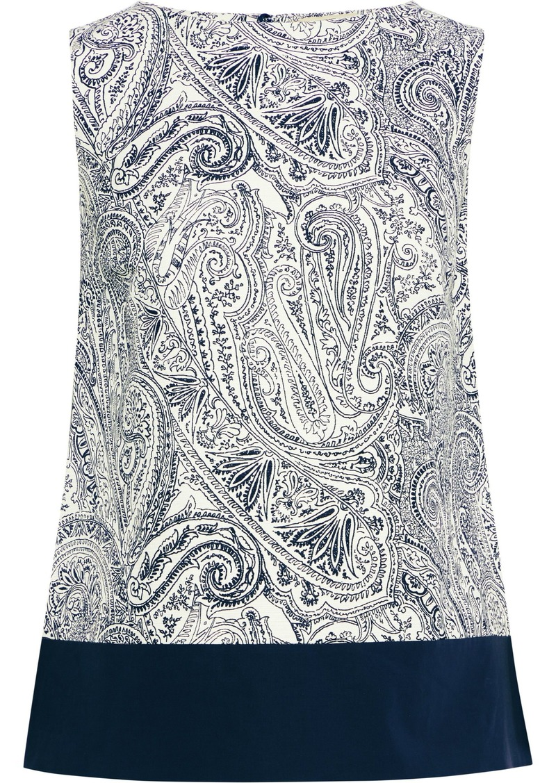 Etro Woman Poplin-paneled Printed Cotton Silk And Linen-blend Top Navy