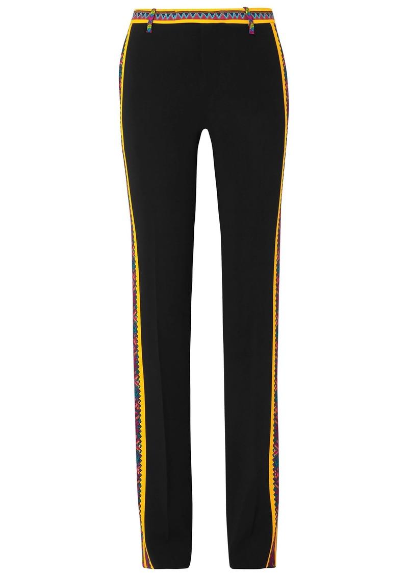 Etro Woman Printed Cady Straight-leg Pants Black