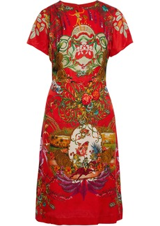 Etro Woman Printed Floral-jacquard Dress Red