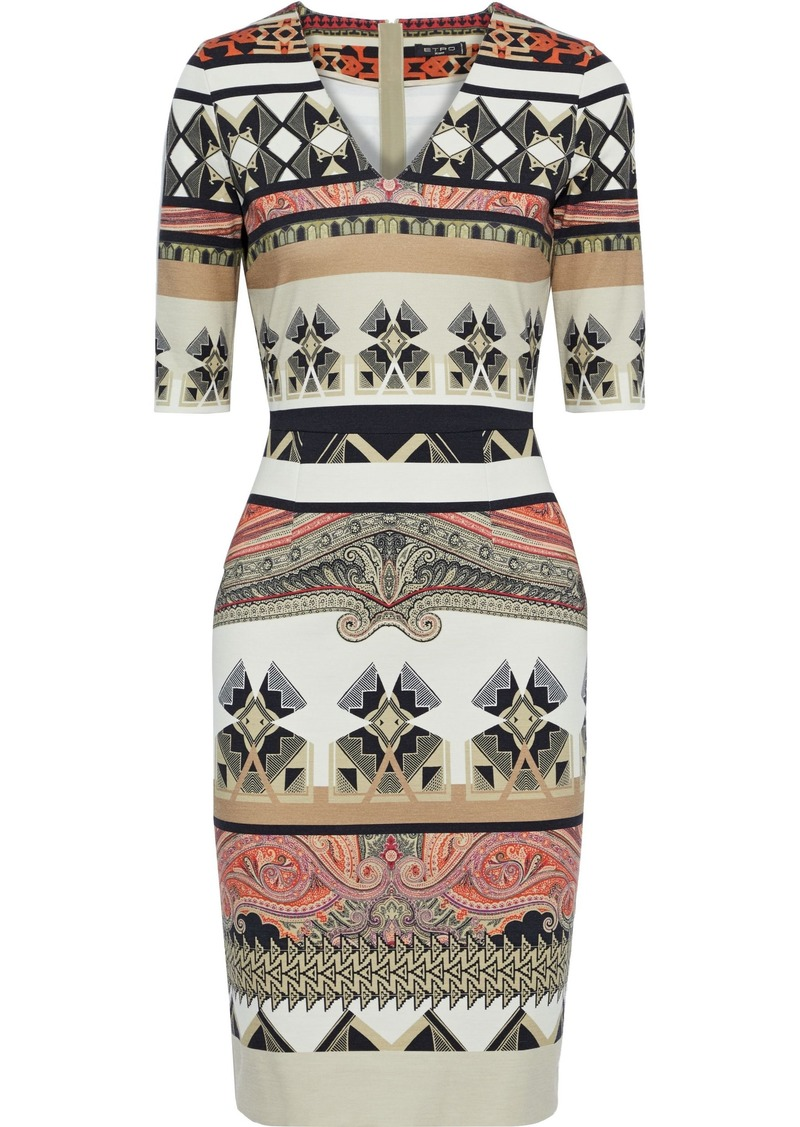 Etro Woman Printed Jersey Dress Multicolor