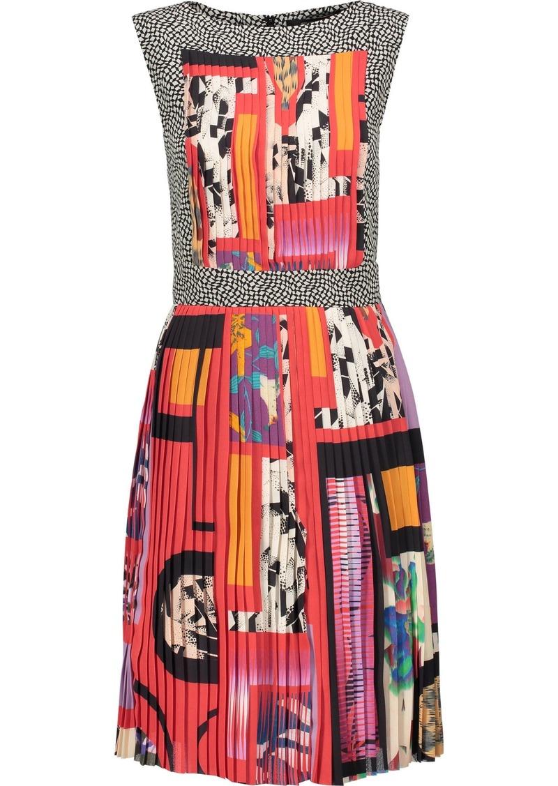 Etro Woman Pleated Printed Crepe De Chine Dress Multicolor