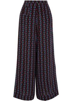 Etro Woman Printed Silk-chiffon Wide-leg Pants Black