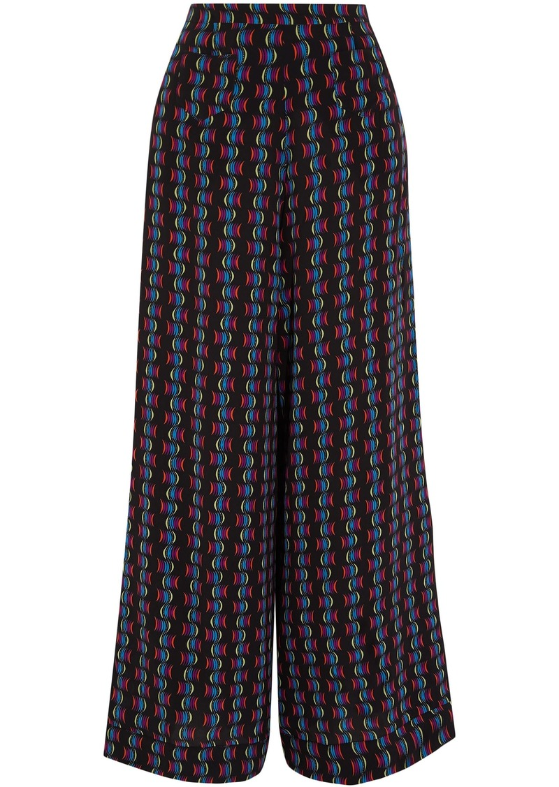Etro Woman Printed Silk-chiffon Wide-leg Pants Black