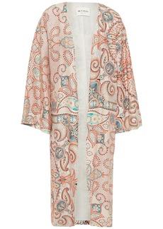 Etro Woman Printed Silk Crepe De Chine Kimono Coral