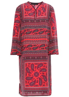 Etro Woman Printed Silk Crepe De Chine Mini Dress Papaya