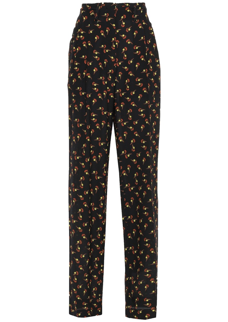 Etro Woman Printed Silk Crepe De Chine Wide-leg Pants Black